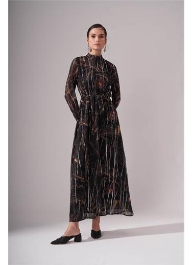 Mizalle Mizalle Büzgülü Desenli Uzun Elbise  Renkli